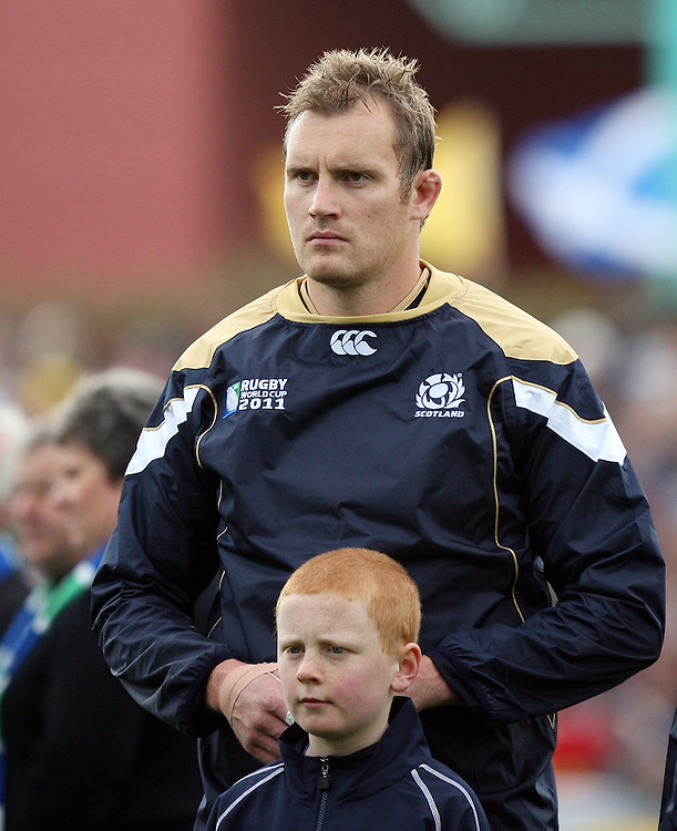 Scotland's captain Alastair Kellock during the Scotland national anthem in the Rugby World Cup pool match against Romania at Rugby Park, Invercargill, New Zealand, Saturday, September 10, 2011. Credit:SNPA / Dianne Manson.