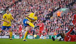 LIVERPOOL, ENGLAND - Saturday, January 26, 2008: Havant and Waterlooville's Neil Sharp blasts the ball over the Liverpool bar during the FA Cup 4th Round match at Anfield. (Photo by David Rawcliffe/Propaganda)