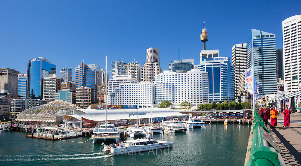 View of Sydney CBD and boats moored in Darling Harbour, Sydney, New South Wales, Australia