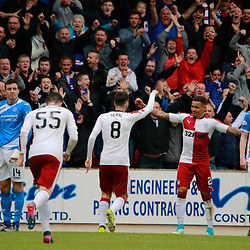 John Toral heads to celebrate with teammate James Tavernier while Joe Shaughnessy & Brian Easton look somewhat disconsolate