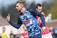 23-04-2016: Voetbal: Sportlust'46 v Zwaluwen: Woerden<br /> <br /> Jarno Reurink van vv Zwaluwen viert zijn doelpunt<br /> <br /> Foto: Gertjan Kooij