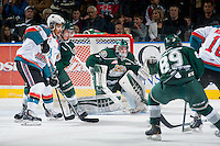 KELOWNA, CANADA - JANUARY 24: Carter Hart #70 of Everett Silvertips defends the net against the Kelowna Rockets on January 24, 2015 at Prospera Place in Kelowna, British Columbia, Canada.  (Photo by Marissa Baecker/Shoot the Breeze)  *** Local Caption *** Carter Hart;