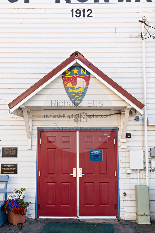 The Sons of Norway Hall Fedrelandet Lodge in the tiny village of Petersburg on Mitkof Island, Alaska. Petersburg settled by Norwegian immigrant Peter Buschmann is known as Little Norway due to the high percentage of people of Scandinavian origin.