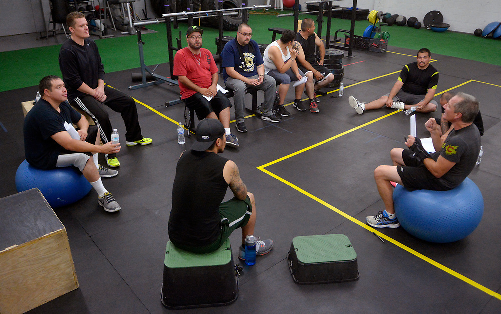 gbs090717e/ASEC -- Counselor Tim Allen, right, facilitates  the Addicts2Athlete fitness/therapy program for recovering addicts on Thursday, September 7, 2017. (Greg Sorber/Albuquerque Journal)