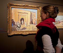 © Licensed to London News Pictures. 19/01/2012. London, U.K..Preview of exhibition Meetings in Marrakech: the paintings of Hassan El Glaoui and Winston Churchill. The exhibition runs between 20 January – 31 March. IT is the first time the paintings of Winston Churchill have been exhibited with another artist Leighton House Museum. Painting by Winston Churchill titled 'Gate of Marrakech, man on donkey,' 1950..Photo credit : Rich Bowen/LNP