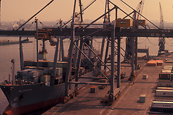 Aerial view of a container ship being loaded at the Port of Houston