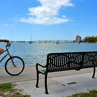 Man Riding Bicycle along Sarasota Bay in Sarasota, Florida<br />