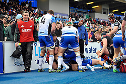 A mass brawl breaks out onto the sidelines just before half-time - Photo mandatory by-line: Patrick Khachfe/JMP - Tel: Mobile: 07966 386802 18/01/2014 - SPORT - RUGBY UNION - Allianz Park, London - Saracens v Connacht Rugby - Heineken Cup.