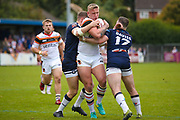 Bradford Bulls replacement Mikolaj Oledzki (31) is stopped  during the Kingstone Press Championship match between Swinton Lions and Bradford Bulls at the Willows, Salford, United Kingdom on 20 August 2017. Photo by Simon Davies.