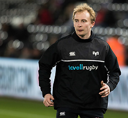 Ospreys' Luke Price during the pre match warm up<br /> <br /> Photographer Simon King/Replay Images<br /> <br /> Anglo-Welsh Cup Round 4 - Ospreys v Bath Rugby - Friday 2nd February 2018 - Liberty Stadium - Swansea<br /> <br /> World Copyright © Replay Images . All rights reserved. info@replayimages.co.uk - http://replayimages.co.uk
