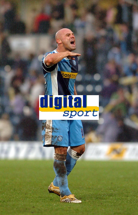 Photo: Leigh Quinnell.<br /> Wycombe Wanderers v Cheltenham Town. Coca Cola League 2, Play off Semi Final. 13/05/2006. Tommy Mooney tells the wycombe fans to keep their chins up.