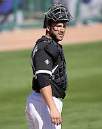 GLENDALE, AZ - MARCH 05:  George Kottaras #44 of the Chicago White Sox looks on during the spring training game between the Los Angeles Dodgers and Chicago White Sox on March 5, 2015 at The Ballpark at Camelback Ranch in Glendale, Arizona. (Photo by Ron Vesely)   Subject:  George Kottaras