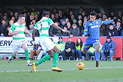 Lyle Taylor of AFC Wimbledon in action during the Sky Bet League 2 match between AFC Wimbledon and Yeovil Town at the Cherry Red Records Stadium, Kingston, England on 30 January 2016. Photo by Stuart Butcher.