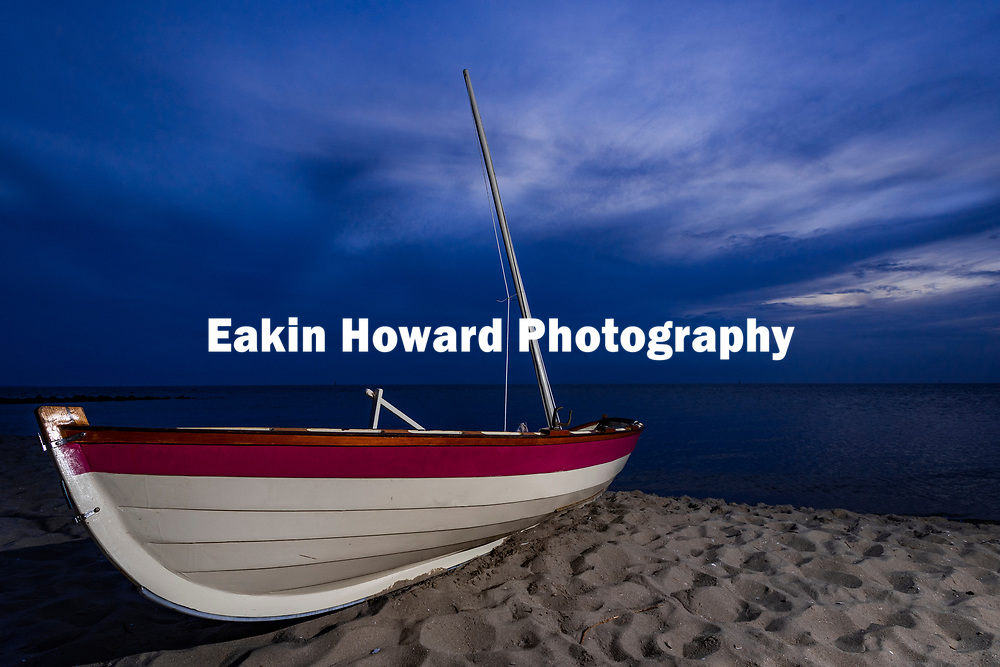 Matthew Dawson's sailboat rests in the sand on the beach at Springer's Point on Ocarcoke Island, NC on May 15, 2018. Matt sailed from Cedar Island, NC and it took him about 4 hours to cross the Pamlico Sound.