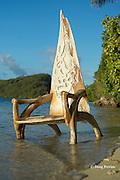 ornately carved whalebone chair, Ika Lahi International Fishing Lodge, Hunga Island, Vava'u, Kingdom of Tonga, South Pacific