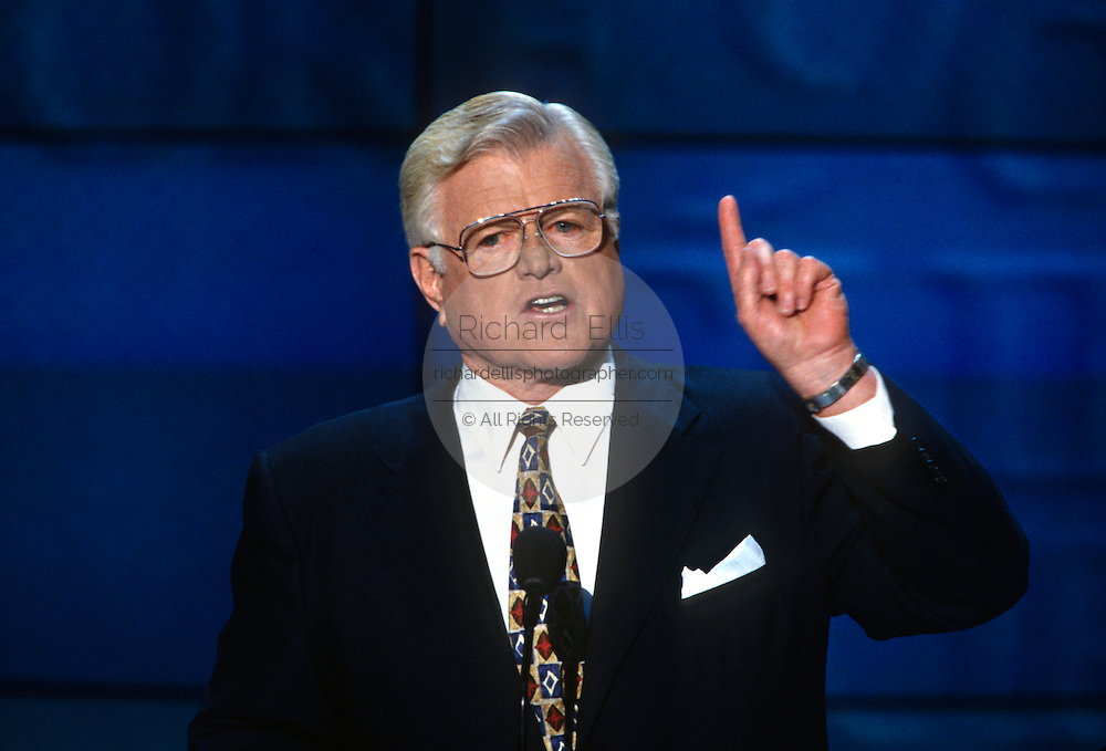 U.S Senator Ted Kennedy speaks at the 1996 Democratic National Convention August 29, 1996 in Chicago, IL.