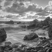 Corona Del Mar - Rocky Cove High Tide - Sunset - Black & White