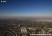 Panoramic wide angle aerial photograph of Birmingham England Great Britain showing the city centre  & Edgbaston