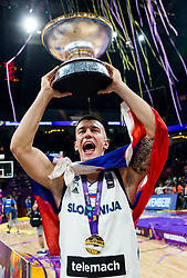 Matic Rebec of Slovenia celebrating at Trophy ceremony after winning during the Final basketball match between National Teams  Slovenia and Serbia at Day 18 of the FIBA EuroBasket 2017 when Slovenia became European Champions 2017, at Sinan Erdem Dome in Istanbul, Turkey on September 17, 2017. Photo by Vid Ponikvar / Sportida