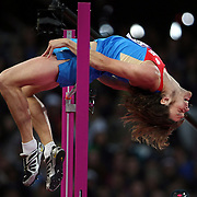 Ukhov, Russia, in action on his way to winning the Gold Medal in the Men's High Jump Final at the Olympic Stadium, Olympic Park, during the London 2012 Olympic games. London, UK. 5th August 2012. Photo Tim Clayton