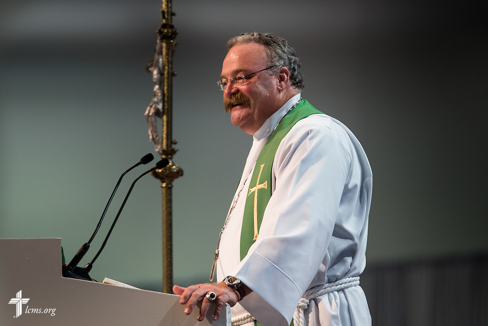 The Rev. Dr. Matthew C. Harrison, president of the LCMS, preaches during the Opening Divine Service of the 66th Regular Convention of The Lutheran Church–Missouri Synod on Saturday, July 9, 2016, at the Wisconsin Center in Milwaukee. LCMS/Frank Kohn