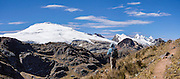 Cordillera Raura (18,757 ft / 5717 m) panorama seen from Portachuelo de Huayhuash pass. Day 4 of 9 days trekking around the Cordillera Huayhuash in the Andes Mountains, Peru, South America. This panorama was stitched from 2 overlapping photos.