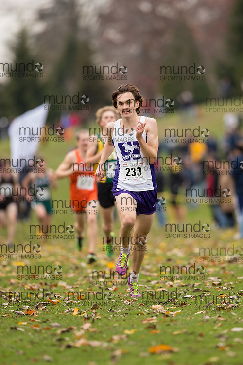 Hunter Andrin of the Western Mustangs runs in the men's  10K Run at the 2013 CIS Cross Country Championships in London Ontario, Saturday,  November 9, 2013.<br /> Mundo Sport Images/ Geoff Robins