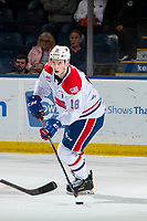 KELOWNA, BC - SEPTEMBER 21:  Filip Král #18 of the Spokane Chiefs skates with the puck during three on three overtime against the Kelowna Rockets at Prospera Place on September 21, 2019 in Kelowna, Canada. (Photo by Marissa Baecker/Shoot the Breeze)