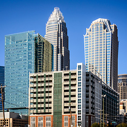 Downtown Charlotte North Carolina city buildings with Bank of America Corporate Center and  Hearst Tower. Charlotte is a major city in the Eastern United States of America.