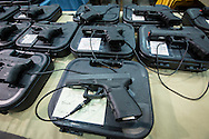 December 16th, Handguns on display included a Glock 9-mm 22 handgun, one of the types of guns found on Adam Lanza after his kill spree, at a <br /> gun show at the Pontchartrain Center in Kenner Louisiana held by Great Southern Gun and Knife Shows L.L. C. Gun sales have increased since the school shooting massacre in Sandy Hook Connecticut, especially AR 15s  ( one of the guns used by Adam Lanza, the killer) as gun owners fear new legislature will soon regulate sales of such guns.