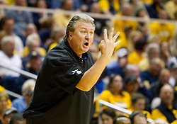 Feb 20, 2016; Morgantown, WV, USA; West Virginia Mountaineers head coach Bob Huggins argues a call during the first half against the Oklahoma Sooners at the WVU Coliseum. Mandatory Credit: Ben Queen-USA TODAY Sports