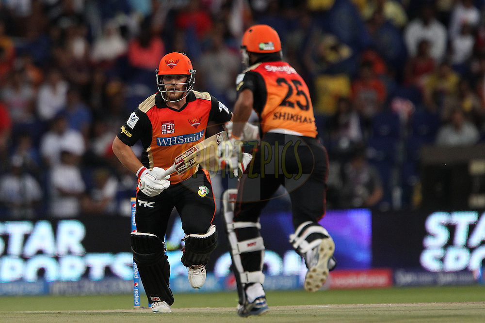 Aaron Finch of the Sunrisers Hyderabad and Shikhar Dhawan during match 4 of the Pepsi Indian Premier League Season 7 between the Sunrisers Hyderabad and the Rajasthan Royals held at the Al Zayed Cricket Stadium, Abu Dhabi, United Arab Emirates on the 18th April 2014<br /> <br /> Photo by Ron Gaunt / IPL / SPORTZPICS