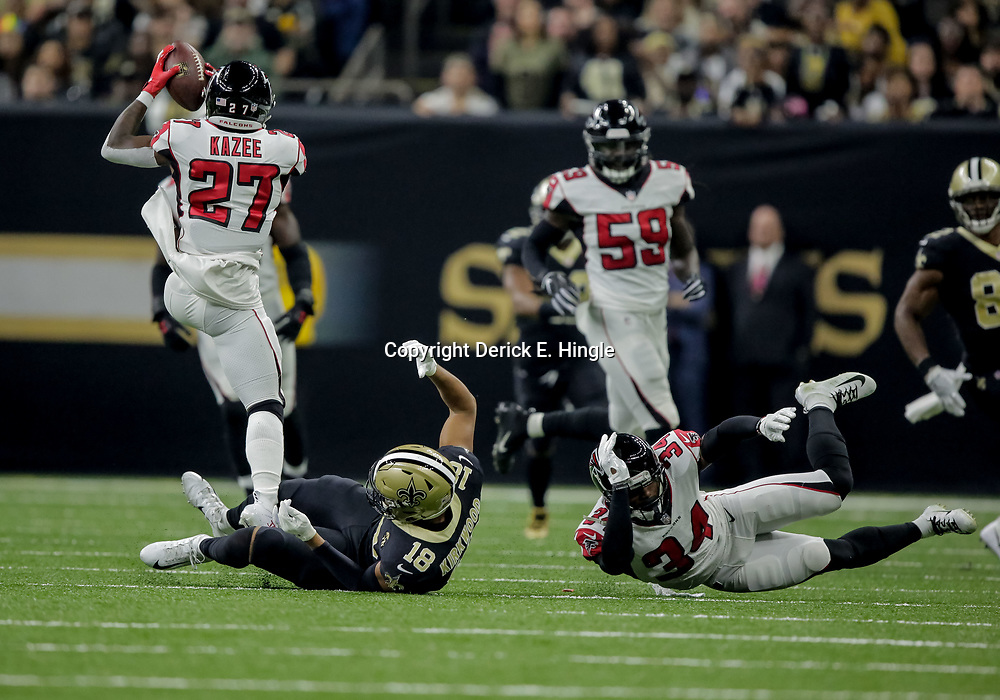 Nov 22, 2018; New Orleans, LA, USA; Atlanta Falcons safety Damontae Kazee (27) intercepts a pass against the New Orleans Saints during the first quarter at the Mercedes-Benz Superdome. Mandatory Credit: Derick E. Hingle-USA TODAY Sports