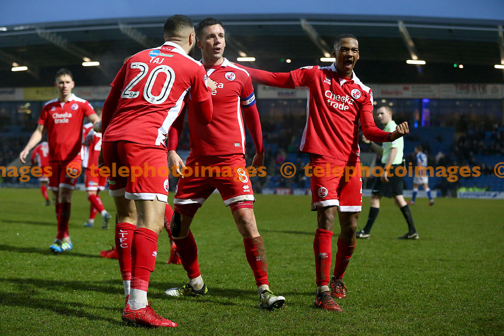 Crawley's Lewis Young  (R) celebrates scoring the winning goal during the Sky Bet League 2 match between Chesterfield and Crawley Town at the Proact Stadium in Chesterfield. 03 Feb 2018