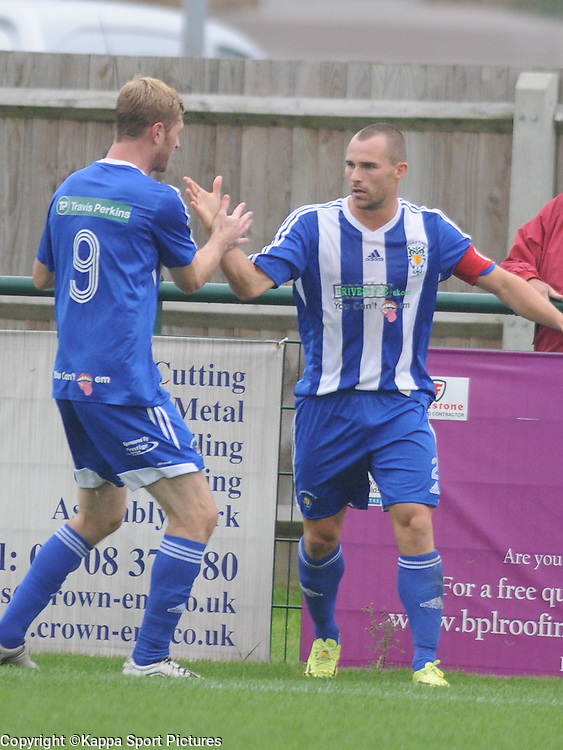 Dunstable Celebrate their First Goal, Ben Herd, Dunstable Town  v Chippenham Town,S Southern League Premier Div, Greasex Park, Dunstable Saturday 20th September 2014