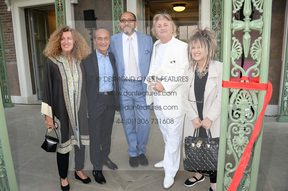 Left to right, NICOLE FARHI, DAVID SASSOON, BRUCE OLDFIELD, DAVID EMANUEL and ELIZABETH EMANUEL at the Fashion Rules Exhibition Opening at Kensington Palace, London W8 on 4th July 2013.