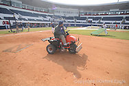 Darrekll Buford of the grounds crew works on the field at Oxford-University Stadium in Oxford, Miss. on Tuesday, February 23, 2010.