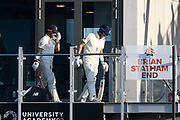 Joe Denly of England and Rory Burns of England walk out to bat during the International Test Match 2019, fourth test, day two match between England and Australia at Old Trafford, Manchester, England on 5 September 2019.