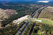 Nederland, Gelderland, Veluwe, 01-05-2013.<br /> Ecoduct Hulshorst, A28 en spoorlijn naar Zwolle.  Natuurgebied Hulshorsterzand, zandverstuivingen, heidegrond en naaldbomen. <br /> Wildlife bridge Hulshorst, motorway A28 and railway to Zwolle. Sand dunes, heathland and pine trees. Nature area.<br /> luchtfoto (toeslag op standard tarieven)<br /> aerial photo (additional fee required)<br /> copyright foto/photo Siebe Swart