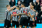 Ayoze Perez (#17) of Newcastle United celebrates Newcastle United's second goal (2-0) with Newcastle United teammates during the Premier League match between Newcastle United and Huddersfield Town at St. James's Park, Newcastle, England on 23 February 2019.