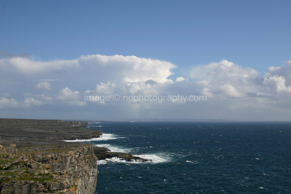 Cliffs at Dun Aonghus fort, Inis Mor the Aran Islands, Connemara, County Galway, Ireland.