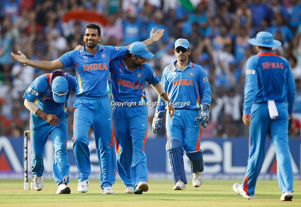 02.04.2011 Cricket World Cup Final from the Wankhede Stadium in Mumbai. Sri Lanka v India.Zaheer Khan of India celebrates the wicket of Chamara Kapugedera during the final match of the ICC Cricket World Cup between India and Sri Lanka on the 2nd April 2011