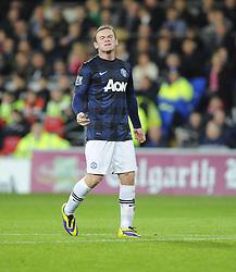 Man Utd Forward Wayne Rooney (ENG) cuts a frustrated figure - Photo mandatory by-line: Joseph Meredith/JMP - Tel: Mobile: 07966 386802 - 24/11/2013 - SPORT - FOOTBALL - Cardiff City Stadium - Cardiff City v Manchester United - Barclays Premier League.