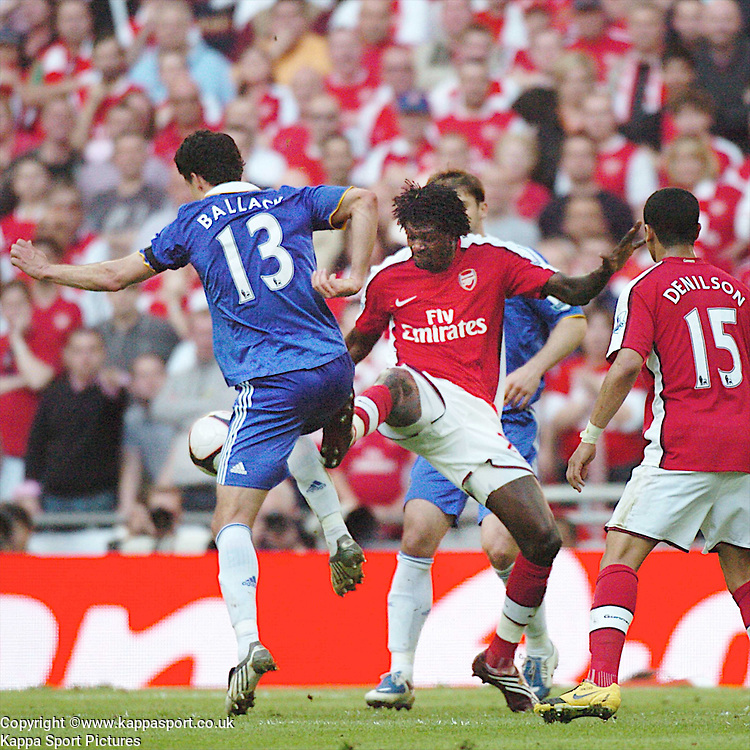 ARSENAL EMMANUEL ADEBAYOR, BATTLES WITH CHELSEA MICHAEL BALLACK, Arsenal v Chelsea, FA Cup Semi Final, Wembley Stadium, Saturday 18th April 2009