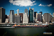 Oil Tanker the Size of Lower Manhattan Along the East River of New York City