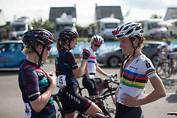 Tiffany Cromwell (AUS) of CANYON//SRAM Racing (LEFT) and Lizzie Armitstead (GBR) of Boels-Dolmans Cycling Team (RIGHT) chat after finishing the 121.5 km road race of the UCI Women's World Tour's 2016 Grand Prix Plouay women's road cycling race on August 27, 2016 in Plouay, France. (Photo by Balint Hamvas/Velofocus)
