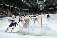 KELOWNA, CANADA - MARCH 21: Lucas Johansen #7 of Kelowna Rockets skates behind the net against the Vancouver Giants on March 21, 2015 at Prospera Place in Kelowna, British Columbia, Canada.  (Photo by Marissa Baecker/Shoot the Breeze)  *** Local Caption *** Lucas Johansen;