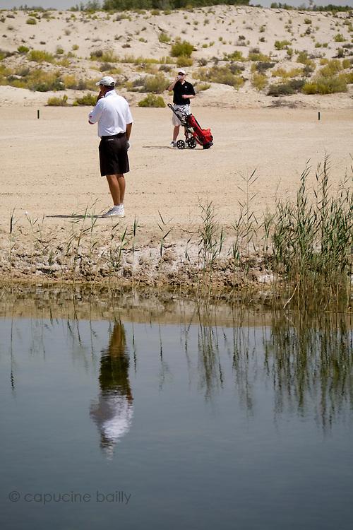 Abu Dhabi, United Arab Emirates (UAE). .March 20th 2009..Al Ghazal Golf Club..36th Abu Dhabi Men's Open Championship..John Fellingham (left)