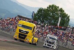 07.07.2013, Red Bull Ring, Spielberg, AUT, Truck Race Trophy, Renntag 2, im Bild Stephanie Halm, (GER, Lion Truck Tracing, #44), Markus Altenstrasser, (AUT, Team Schwaben-Truck, #28) // during the Truck Race Trophy 2013 at the Red Bull Ring in Spielberg, Austria, 2013/07/07, EXPA Pictures © 2013, PhotoCredit: EXPA/ M.Kuhnke