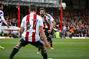 Brentford defender Yoann Barbet (29) celebrates his goal (score 1-0) during the EFL Sky Bet Championship match between Brentford and Queens Park Rangers at Griffin Park, London, England on 22 April 2017. Photo by Andy Walter.